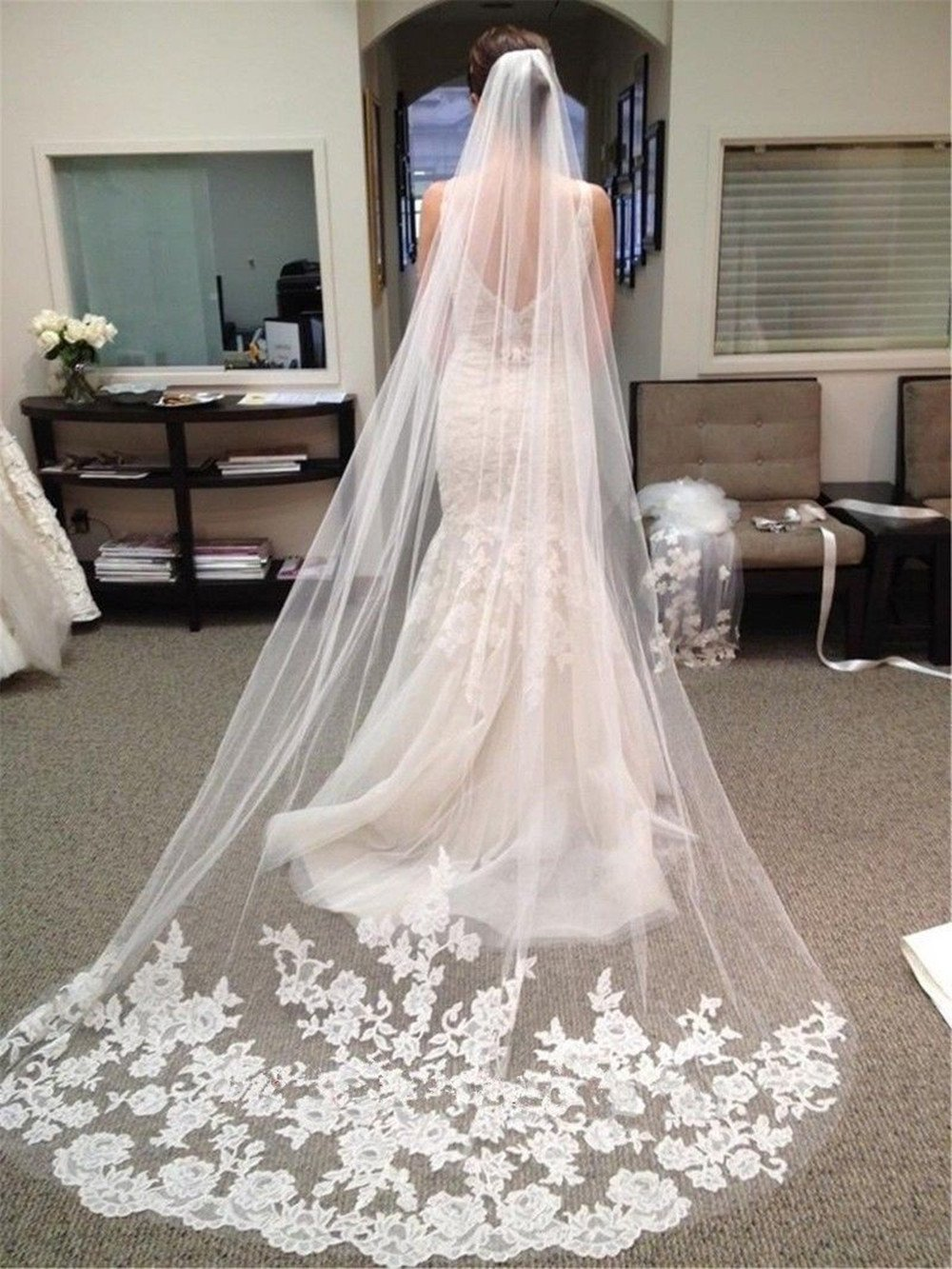 Ivory Velo de Novia de una Sola Capa Lianshi Bridal Veil Encaje Bordado Novia Suministros 3m