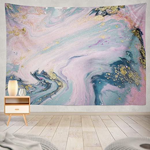 Summor Liquid with Marbled Blue and Pink Marble Gold Rose Pink Golden Acrylic Art Blue Art Nature Home Decorations for Living Room Bedroom Dorm Decor 80 x 60 Inch