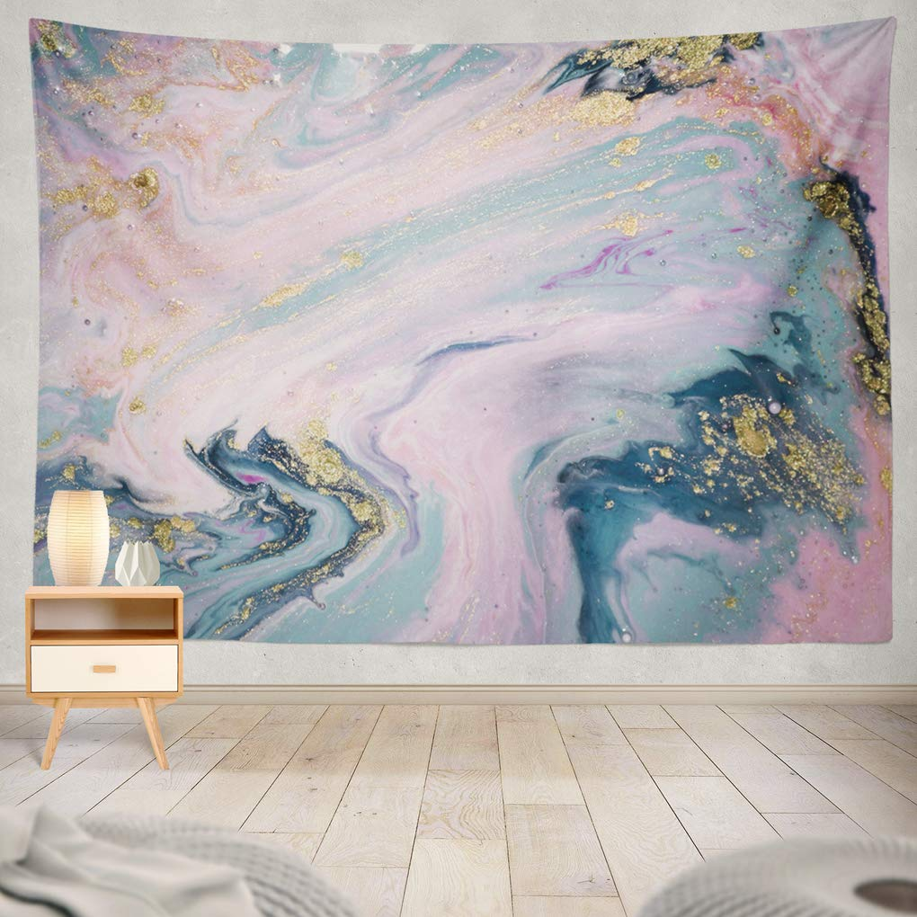 "Summor Liquid with Marbled Blue and Pink Marble Gold Rose Pink Golden Acrylic Art Blue Art Nature Home Decorations for Living Room Bedroom Dorm Decor in 80"" W x 60"" L"