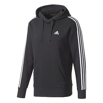 cea56668d5 adidas Essentials 3-Stripes Sweat-Shirt à Capuche Homme, Noir, Blanc,
