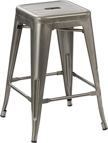 BTEXPERT 24-inch Tabouret Vintage Antique Rustic Distressed Metal Counter Height Bar Stool Indoor-Outdoor – Set of 4 Barstool