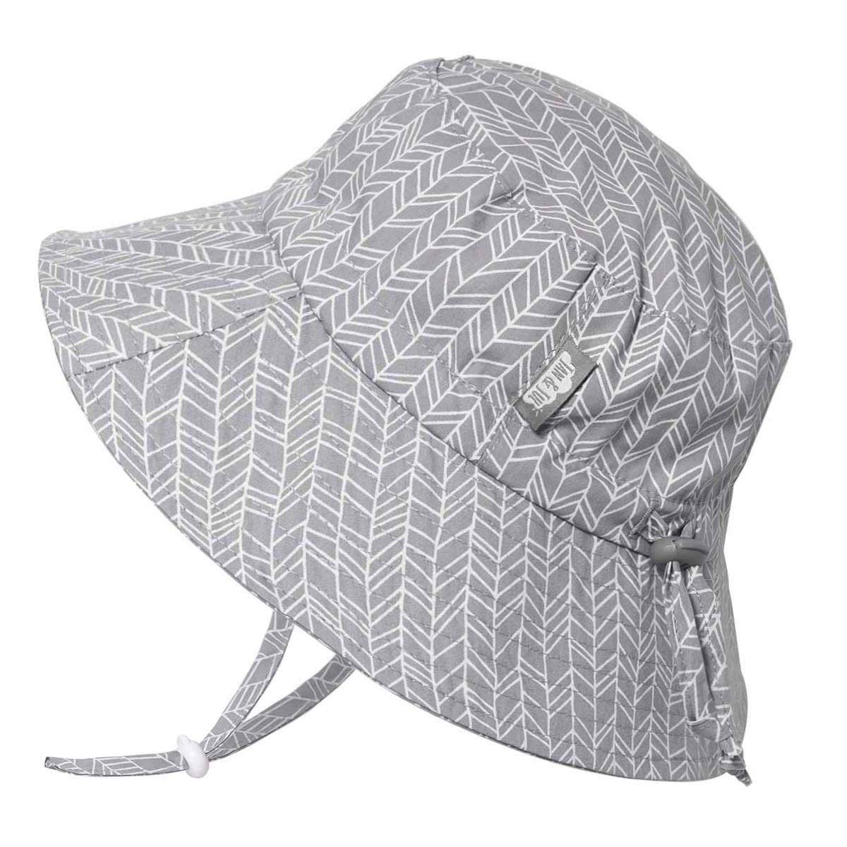 JAN & JUL Children's Foldable Summer Sunhat 50 UPF, Drawstring Adjustable, Stay-on Chin Strap (L: 2-5Y, Grey Herringbone) by JAN & JUL