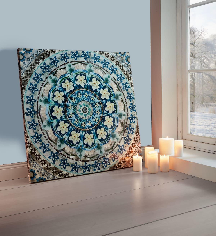 PuROTay Bild Blau Mandala - Leinwanddruck - Blau - ca. 80 x 80 cm