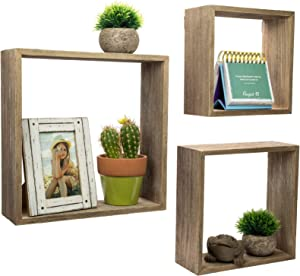 Floating Rustic Wall Shelves: Set of 3 Nested Barnwood Cube Shelves. Wall-Mounted Storage Bookshelf is perfect for home décor for the Living Room, Bedroom, Office, Kitchen or Bathroom (Set of 3)