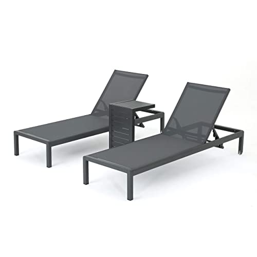 Christopher Knight Home Cape Coral Outdoor Aluminum Chaise Lounge and C-Shaped Side Table