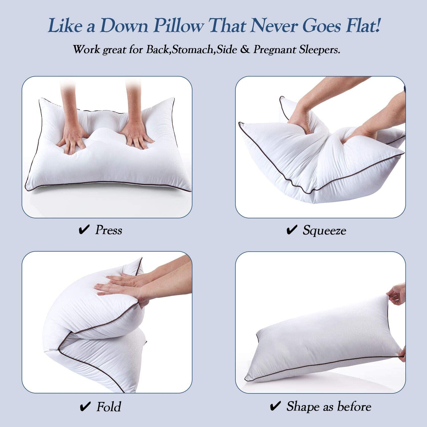 Bed Pillows for Sleeping 2 Pack, Hypoallergenic Pillows for Side and Back Sleeper, Down Alternative Hotel Quality Sleeping Pillows Soft Pillow-Standard Size 20x26inches: Kitchen & Dining