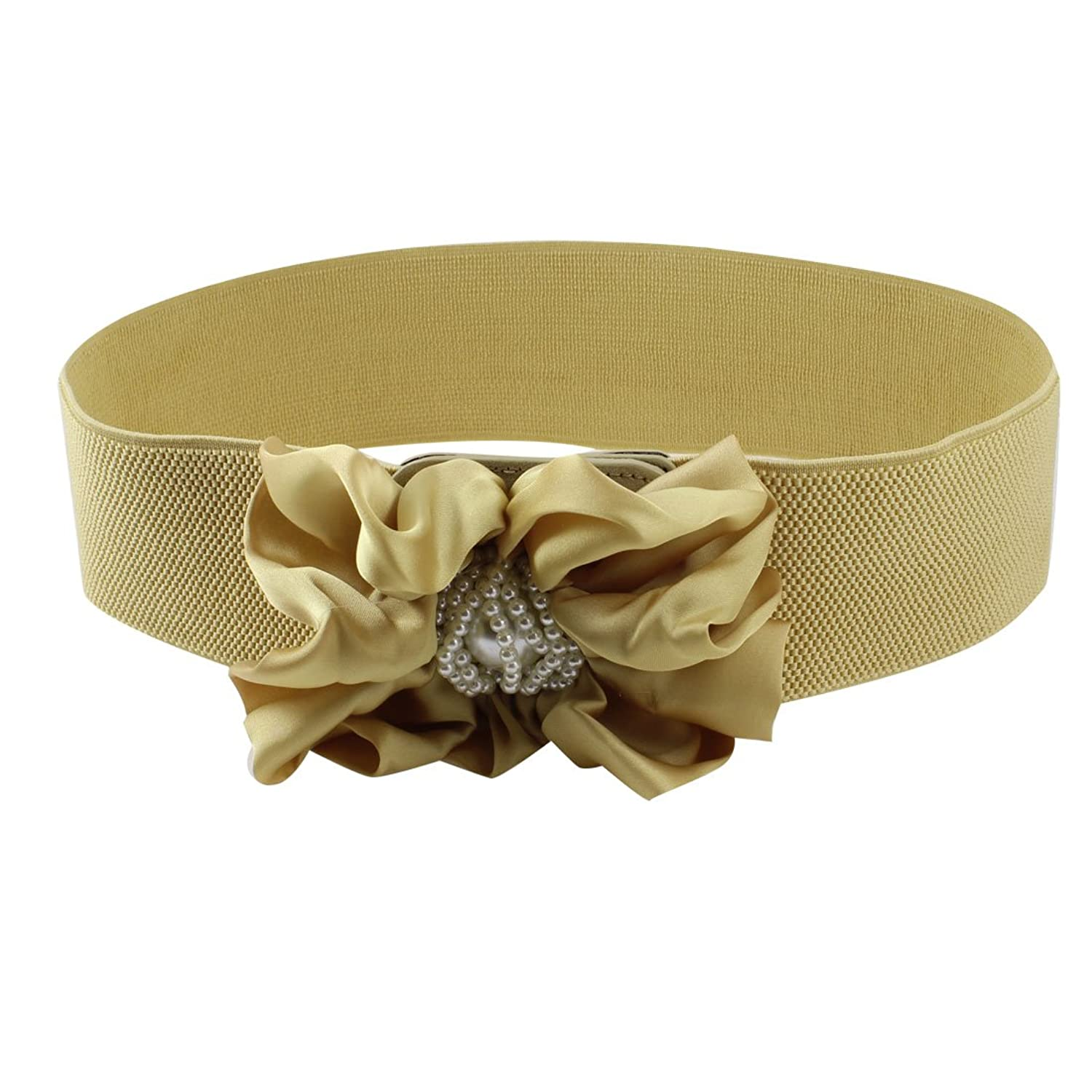 Champagne Color Floral Decor Press Stud Button Closure Cinch Belt
