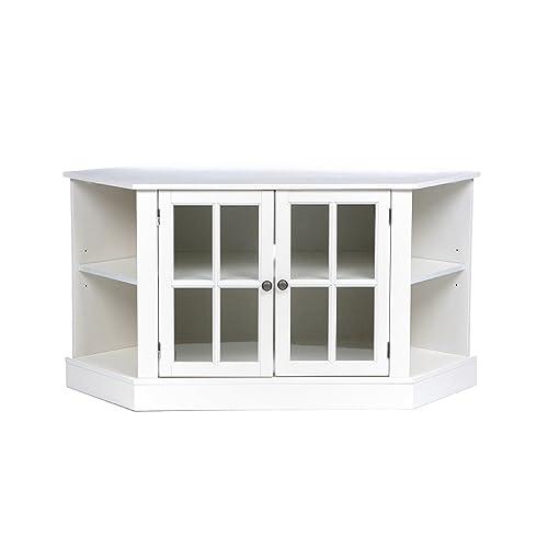 Thomas Corner Media Stand – Center Storage Area w Adjustable Shelf – White Finish