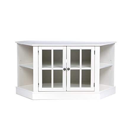 Thomas Corner Media Stand – Center Storage Area w Adjustable Shelf – White Finish
