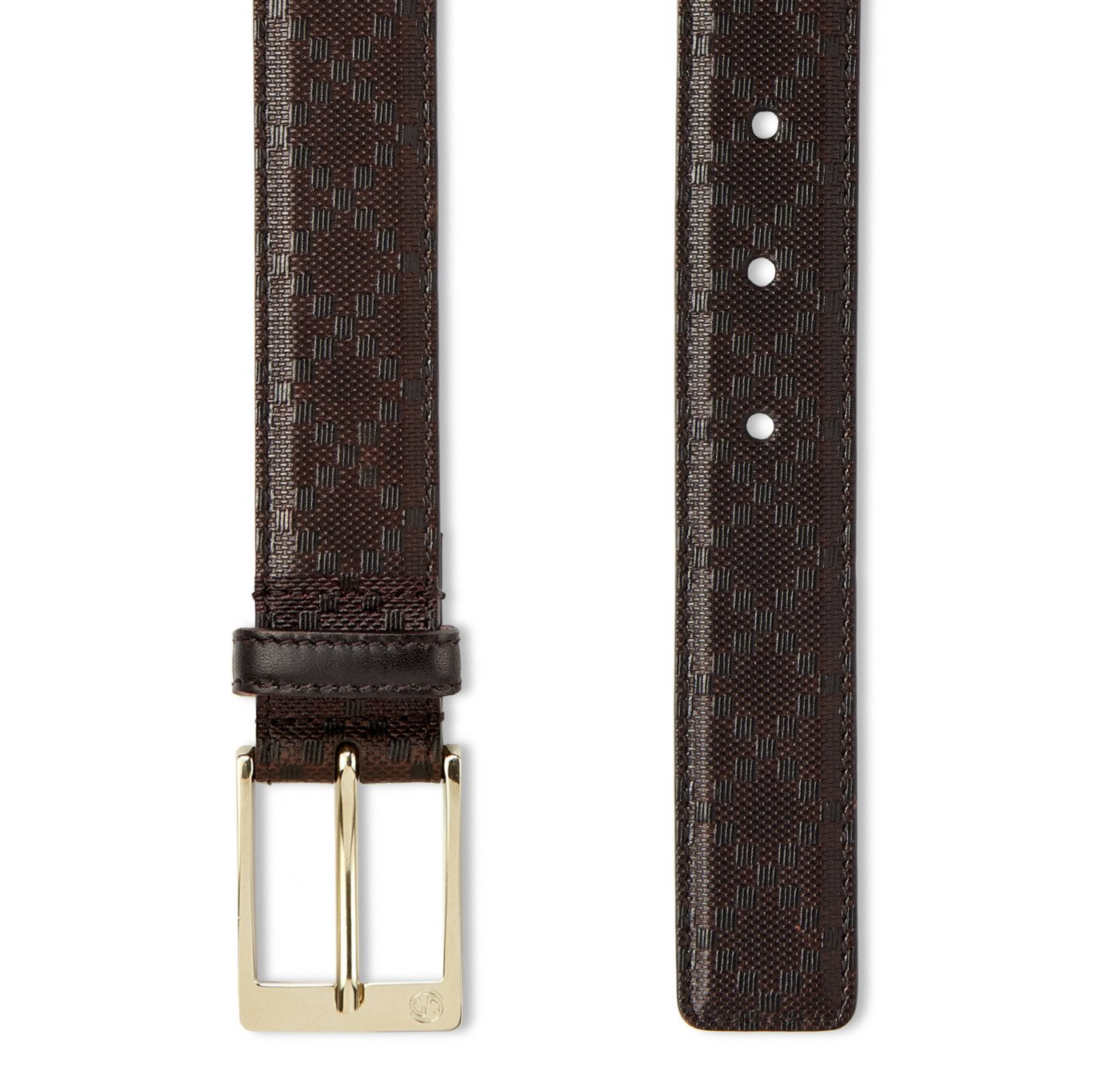 Gucci GG Brown Diamante Leather Square Buckle Belt, Brown, 44 by Gucci (Image #2)