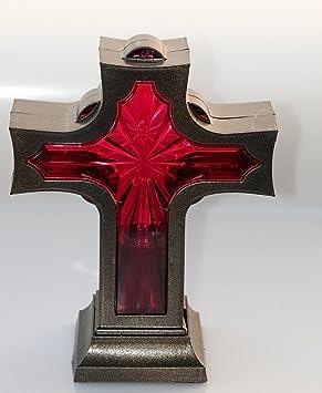 Red Led Grave Light Cross