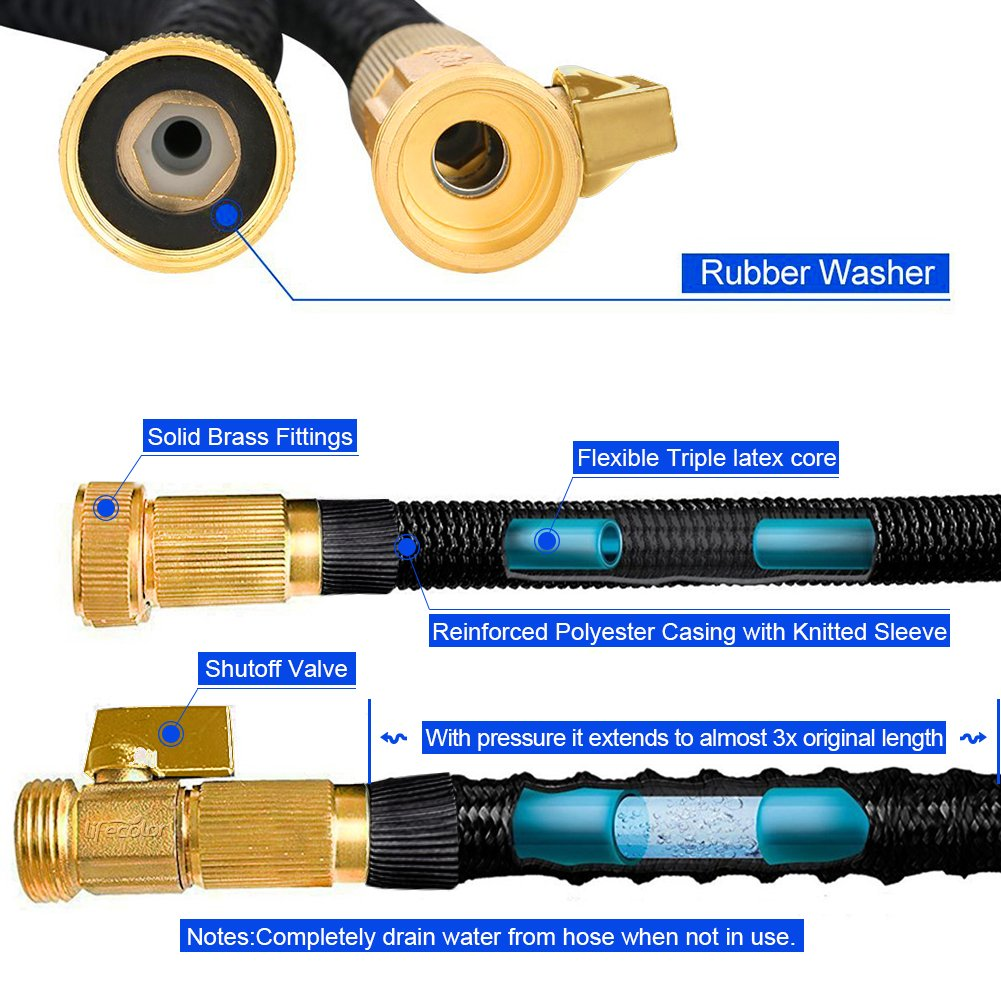 lifecolor Expanding Garden Hose, 100ft Expandable Water Hose with Double Latex Core, Solid Brass Connector and Extra Strength Fabric Flexible Spray Hose with 8 Function Nozzle by lifecolor (Image #2)