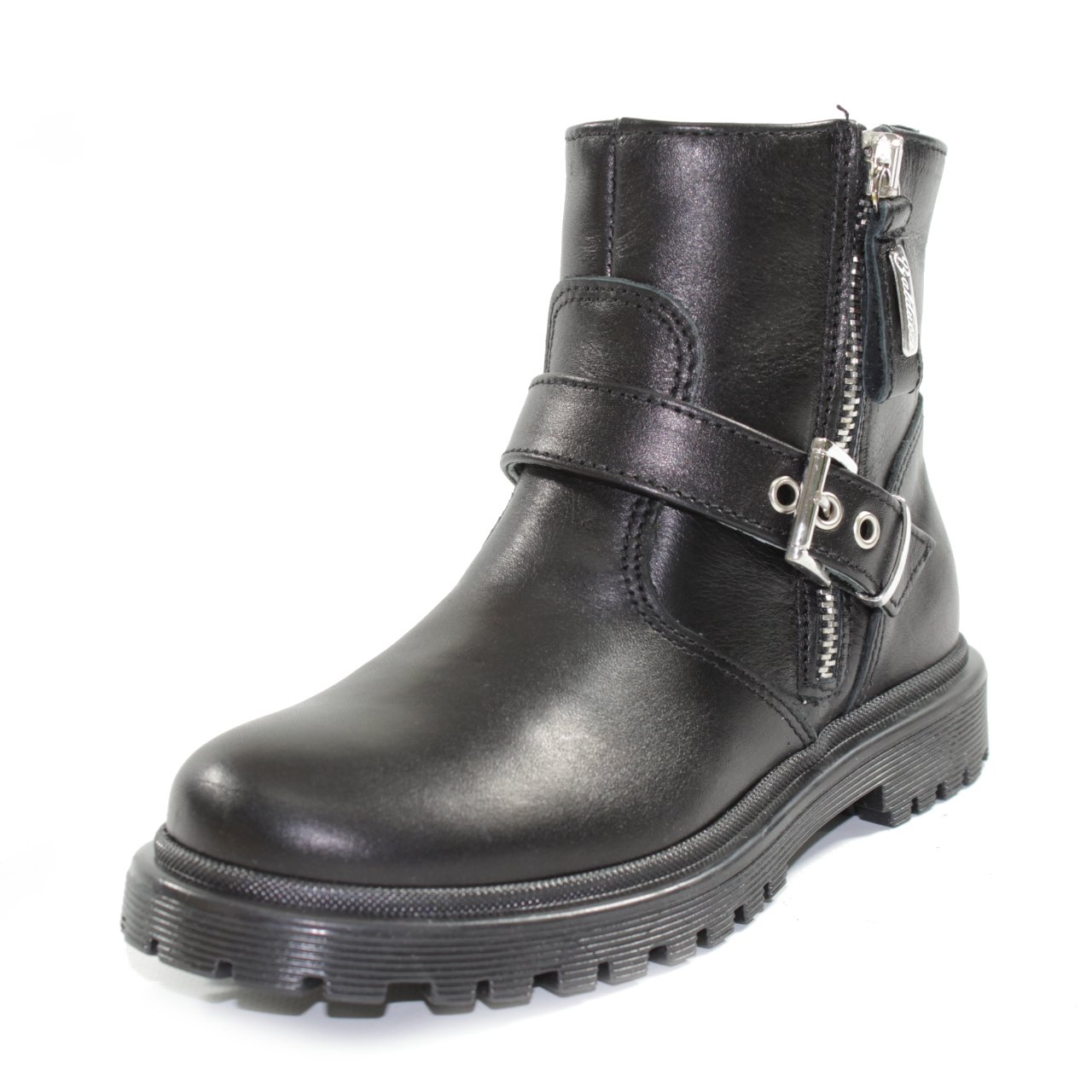 Black 32 EU Black 32 EU BALDUCCI Biker Leather Boots with Lateral Zip and Buckles Made in  ESORT 426A Black