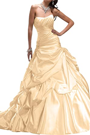 Gorgeous Bride Luxury Traegerlos prinzessin Satin Hof-Schleppe Brautkleider  Lang Hochzeitskleider -32 Champagner