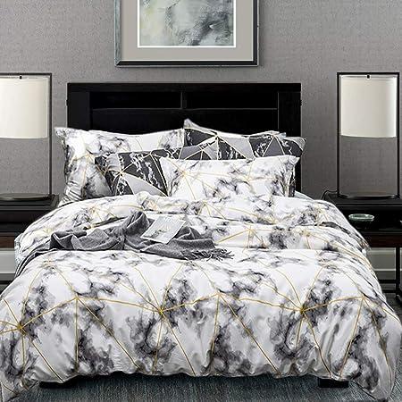 karever Kids Duvet Cover Set Cotton Abstract White Marble Design Bedding Sets Twin Teen Girl Women Comforter Cover Set