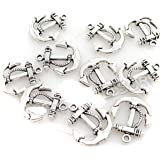 50pcs Vintage Silver Anchor Sign Smooth Metal Charms Beads Jewelry Making Accessory