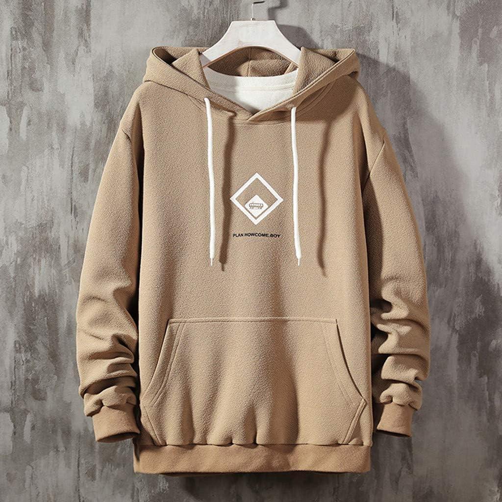 Pullover Hoodie Tops for Mens Regular Fit Printed Long Sleeve Hooded Sweatshirt