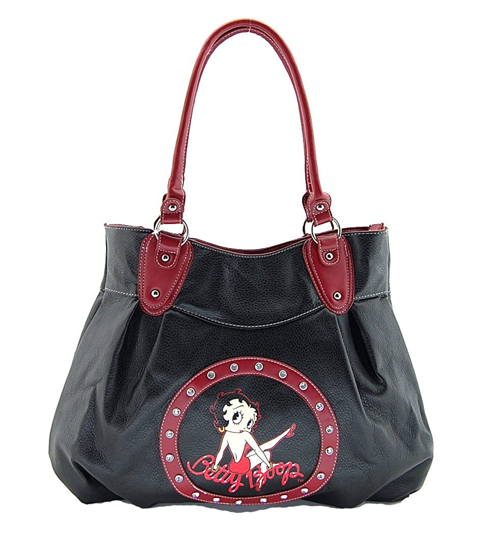 16c029412d19 Betty Boop Purse Sitting On Name  Black With Red Trim - Large  Handbags   Amazon.com