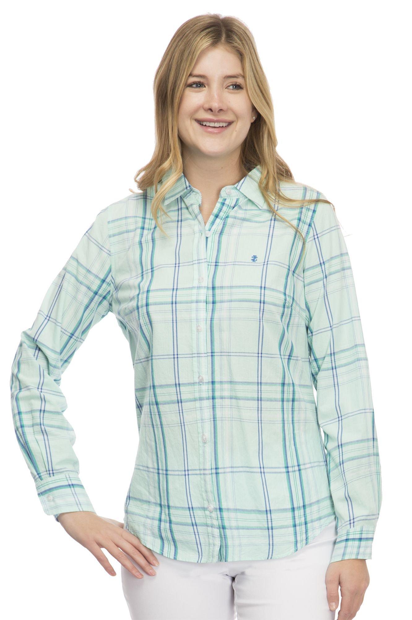 IZOD Women's Button Shirt, Beach Glass Combo, L