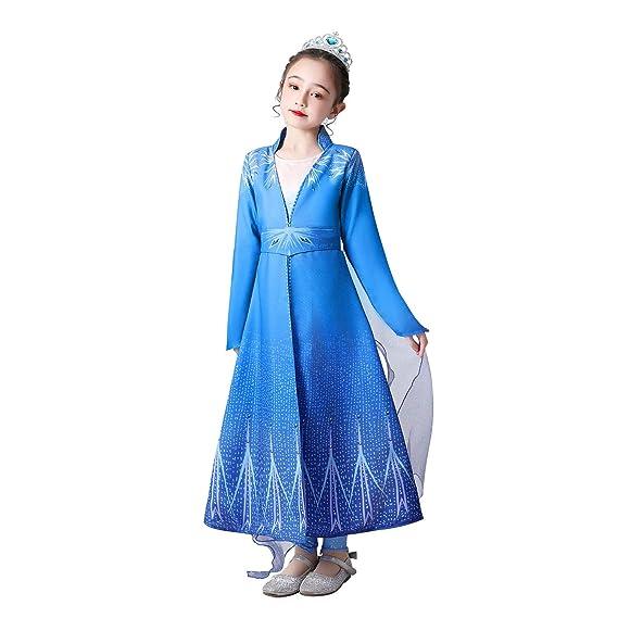 URAQT Disfraz Elsa Frozen,Disfraz Frozen Niña, Vestido Frozen 2,Vestido Princesa Elsa Princesas Disney Frozen Cumpleaños Traje Frozen Niña para Frozen ...