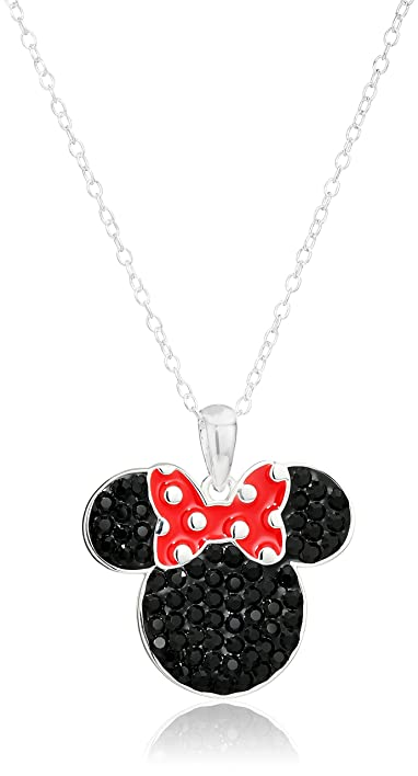 Amazon disney minnie mouse black and red crystal sterling disney minnie mouse black and red crystal sterling silver womens pendant necklace aloadofball Image collections