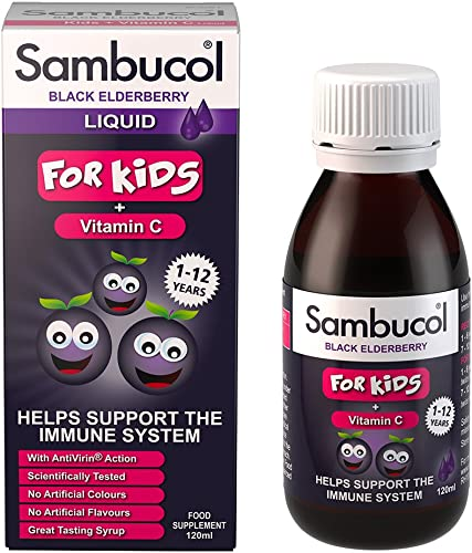Sambucol Black Elderberry for Kids, 4 Ounce Bottle, High Antioxidant Black Elderberry Extract Syrup for Immune Support, Children s Formula