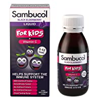 Sambucol Natural Black Elderberry for Kids with Vitamin C, a great tasting Immune System Booster, Cold & Flu Remedy for children - 120ml