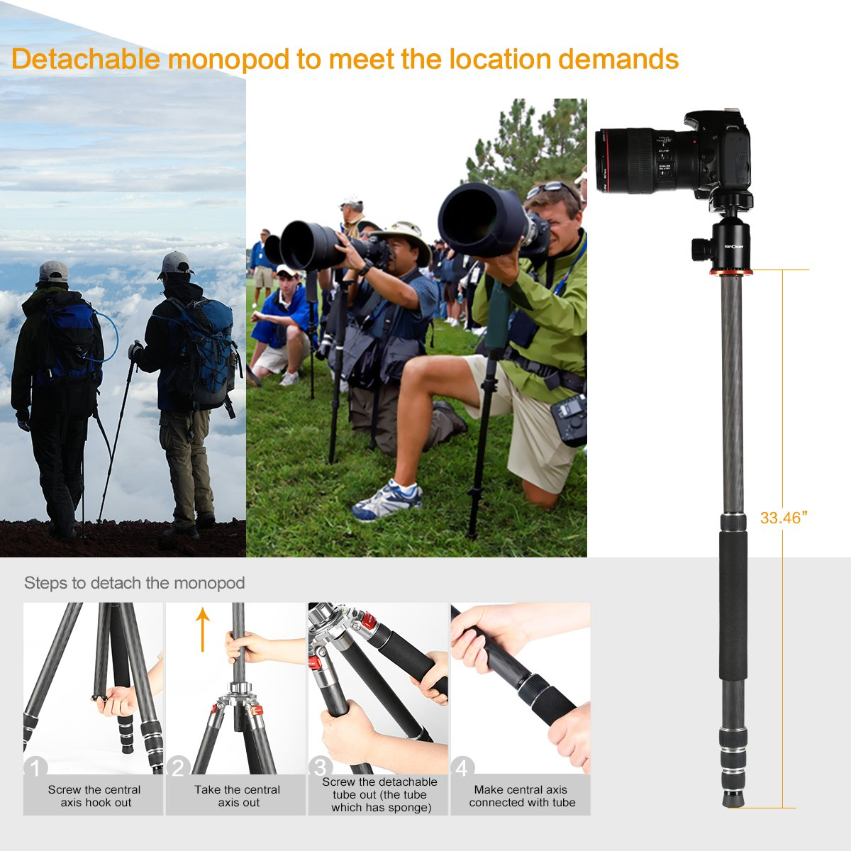 K&f Concept Carbon Fiber Camera Tripod 4 Section 61 Inch with Load Capacity 26.46lbs Monopod for Camera DSLR DV Canon Nikon Sony by K&F Concept (Image #3)
