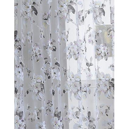 Amazon Com Broshan Semi Sheer Floral Pattern Curtains Draperies
