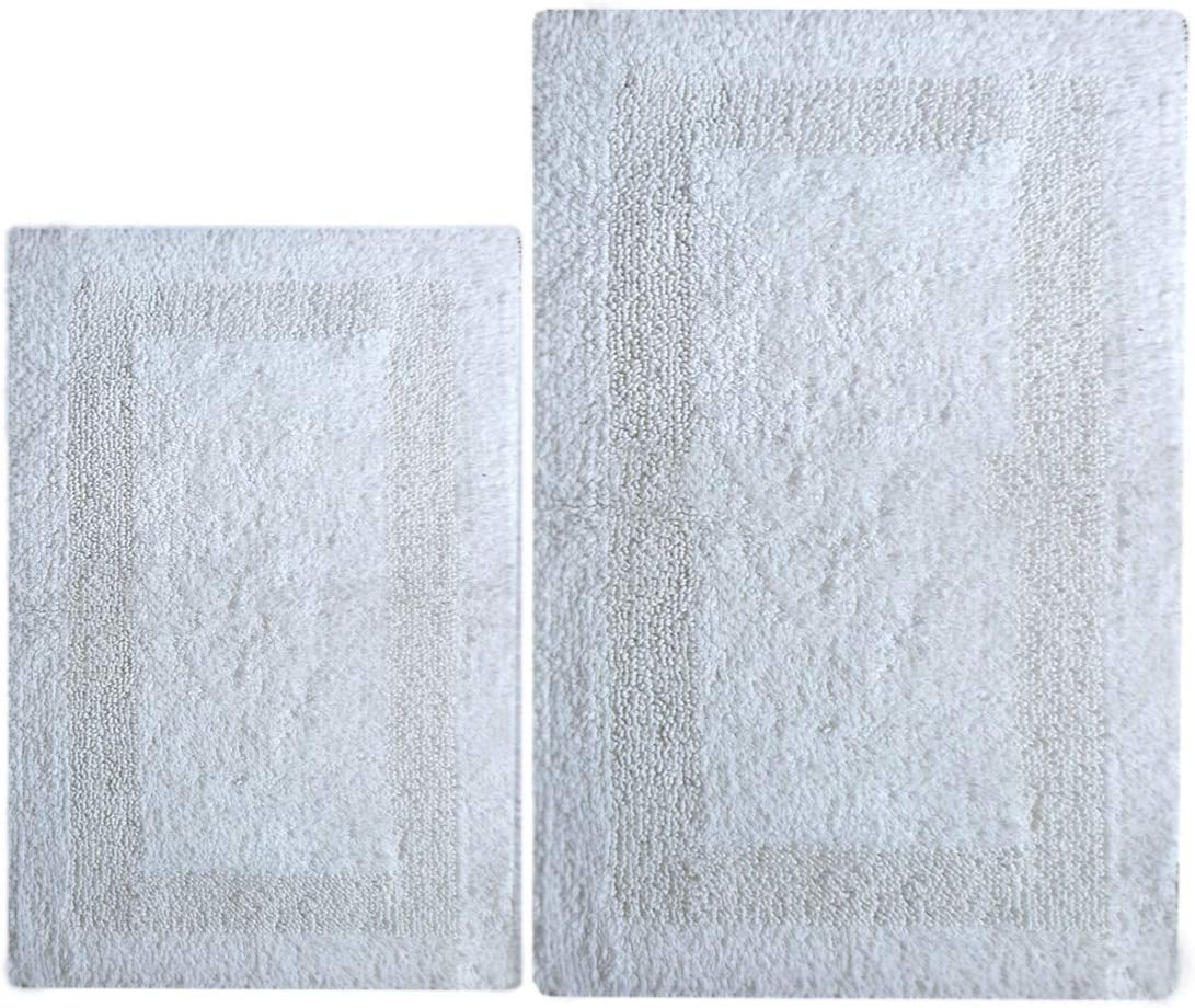 "Chardin Home - 100% Cotton Reversible Bathroom 2-Piece Bath Rug Set – 21""x34"" & 17""x24"", Loop/Cut Pattern Absorbent Super Soft Comfort Quick Dry Durable Hotel Spa mats, Machine Washable, White"