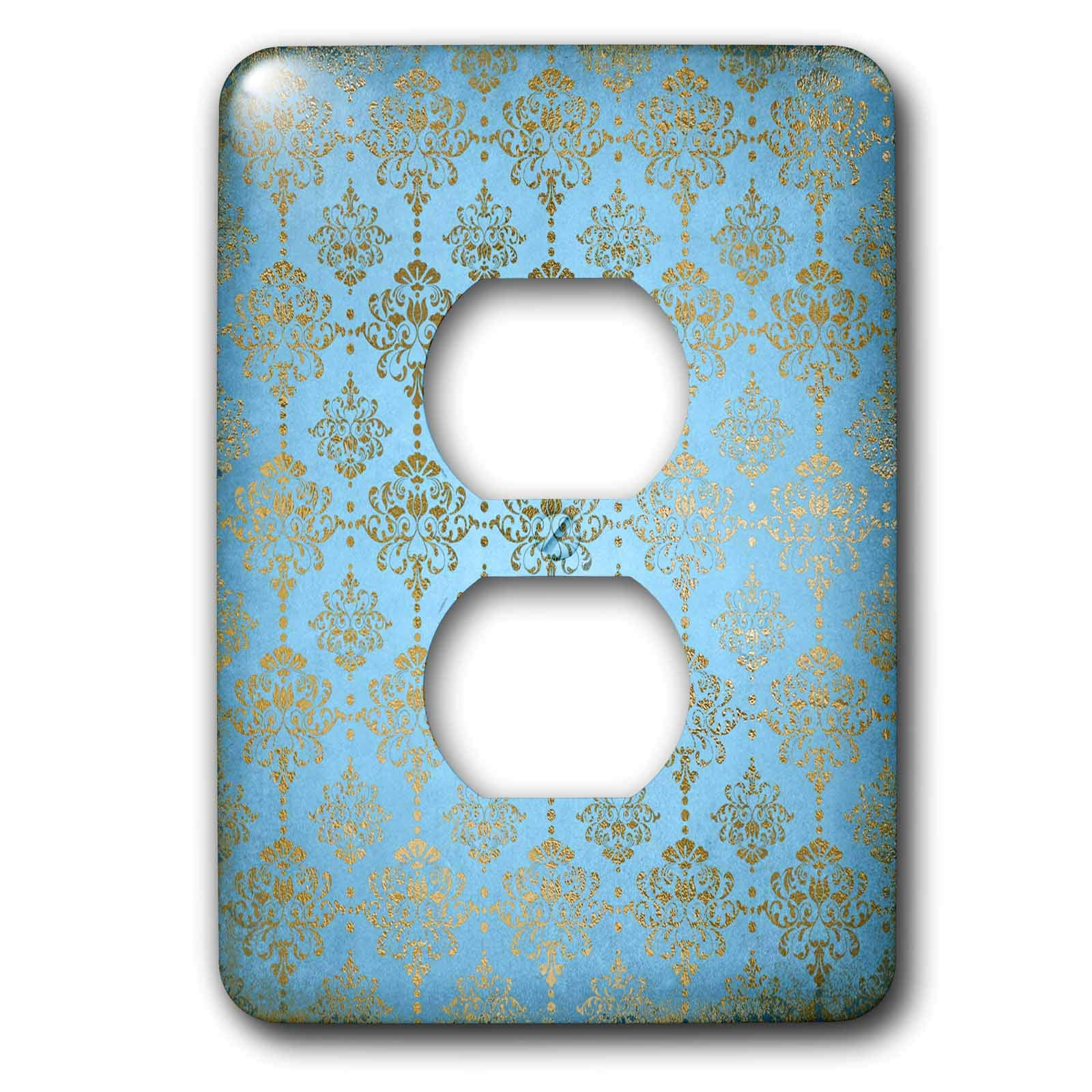 3dRose Uta Naumann Faux Glitter Pattern - Image of Sky Blue and Gold Metal Foil Vintage Luxury Damask Pattern - Light Switch Covers - 2 plug outlet cover (lsp_290167_6)