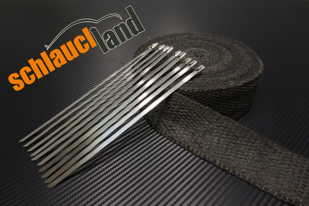 Keramik Hitzeschutzband 50mm schwarz 1200°C 10 Kabelbinder***Heat Wrap