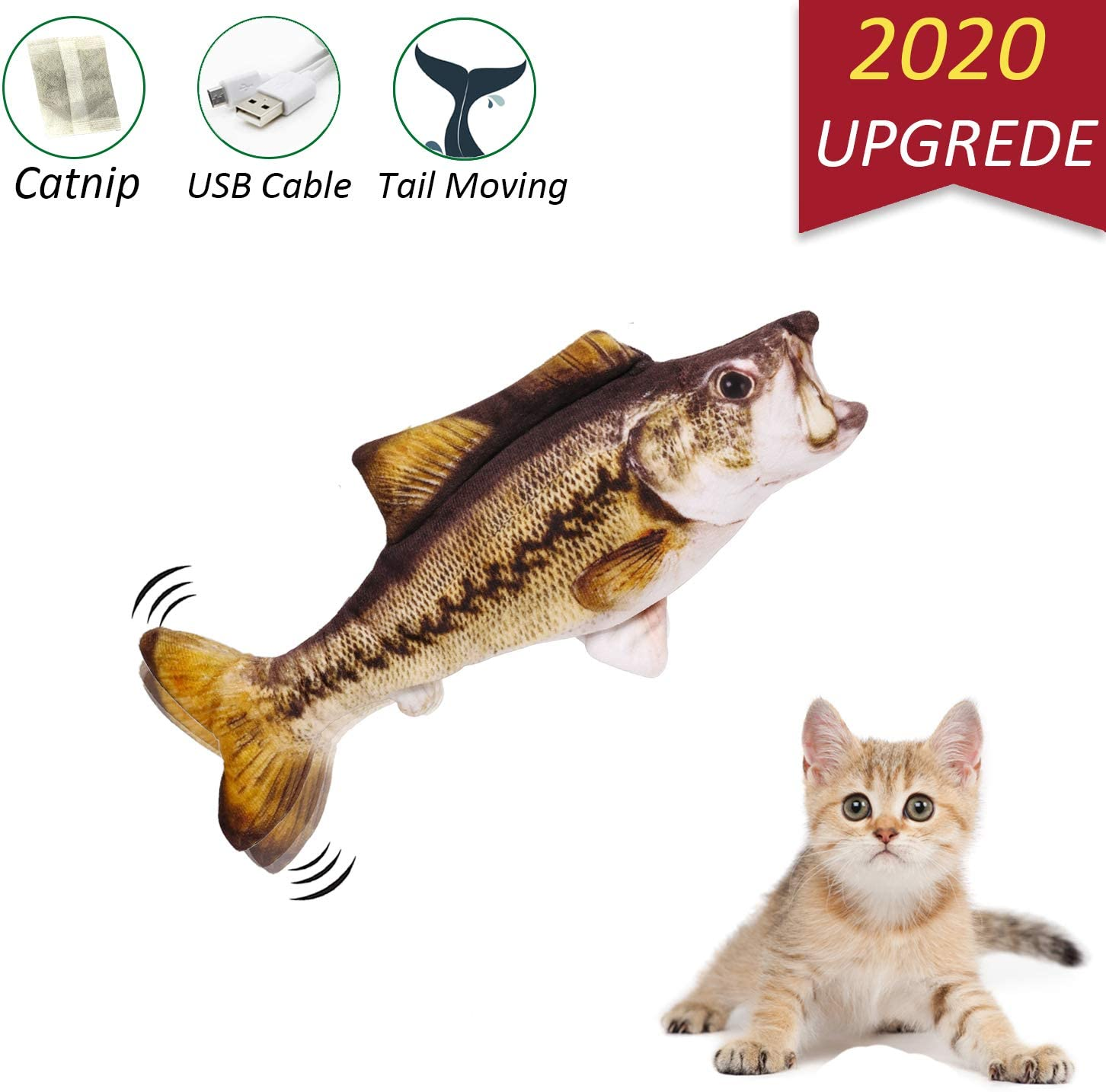 Electric Moving Cat Kicker Fish Toy With USB Chargeable And Catnip Plush Interactive Cat Toys Motion Kitten Toys Fun Toy for Cat Exercise Cat Toy Interactive Live Fish Pillow Chew Bite Supplies Realistic Flopping Fish Cat Toy