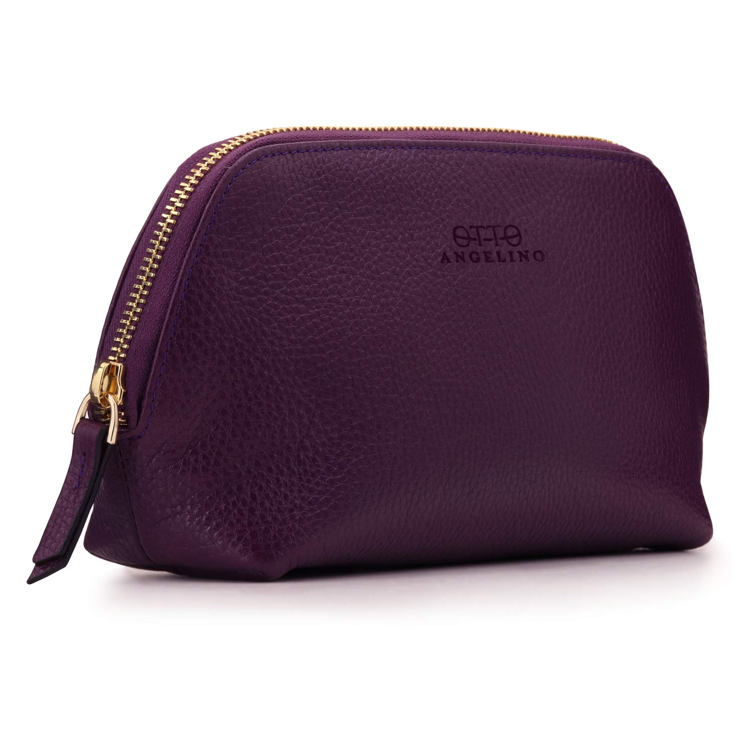 Otto Angelino Genuine Leather Makeup Bag Cosmetic Pouch Travel Organizer Toiletry Clutch, Purple