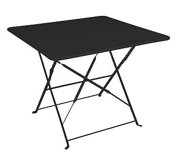 Table de jardin pliante carrée 90 X 90 cm en acier traité époxy ...