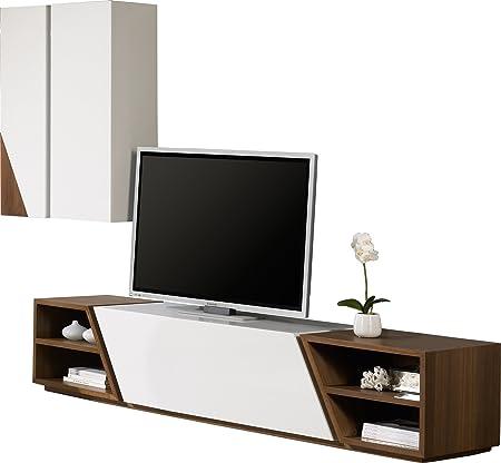 vraiment pas cher En liquidation assez bon marché Composition design meuble TV laque et noyer 4 niches: Amazon ...