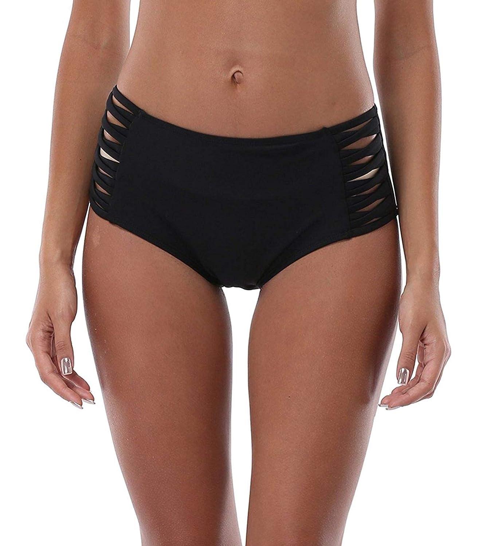 11a7be3c7f Amazon.com: ATTRACO Women's Solid Swim Brief Mid/High Waist Beach Bikini  Swimwear Bottom: Clothing