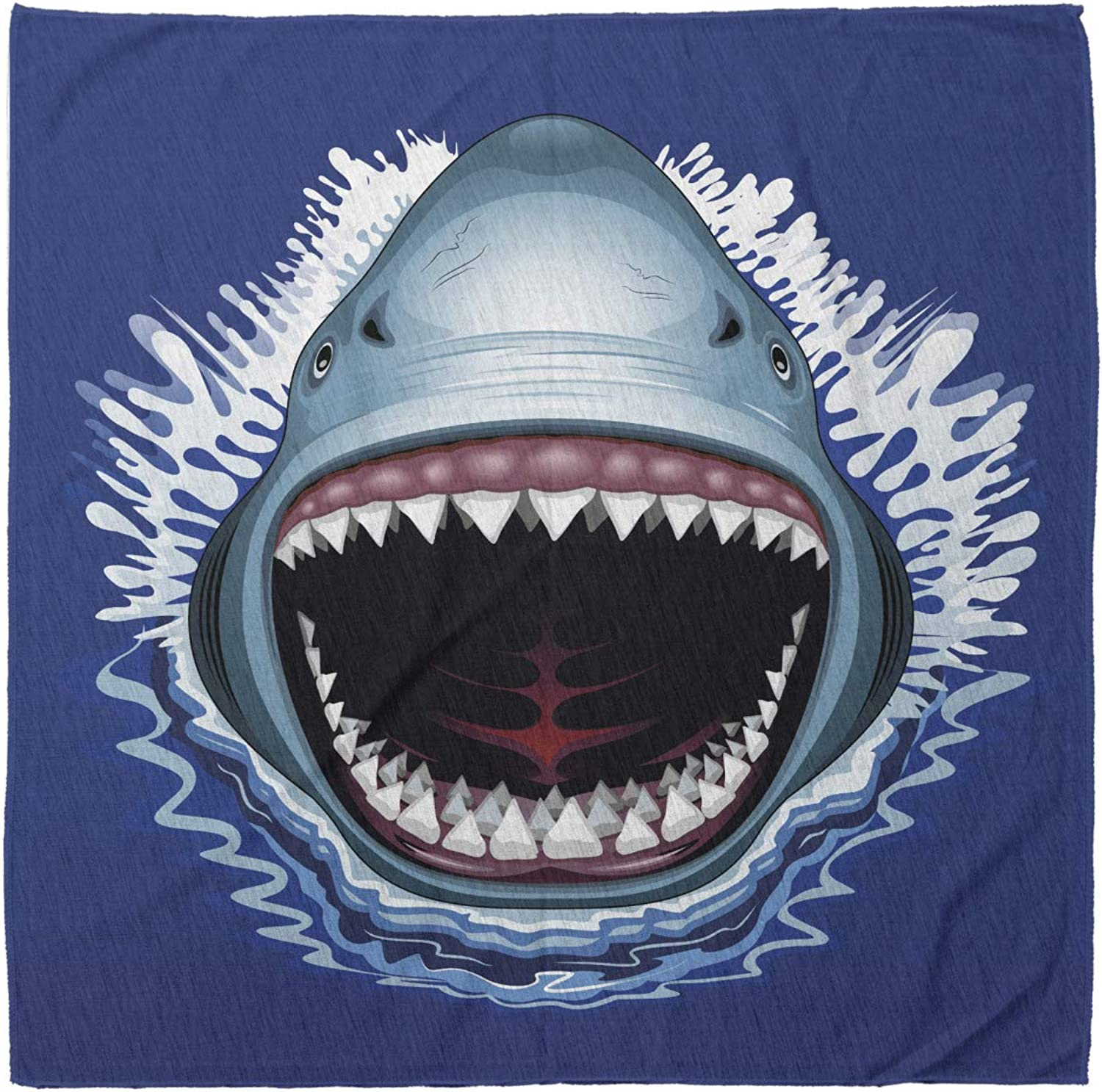 Ambesonne Shark Bandana, Attack Open Mouth Bite, Unisex Head and Neck Tie