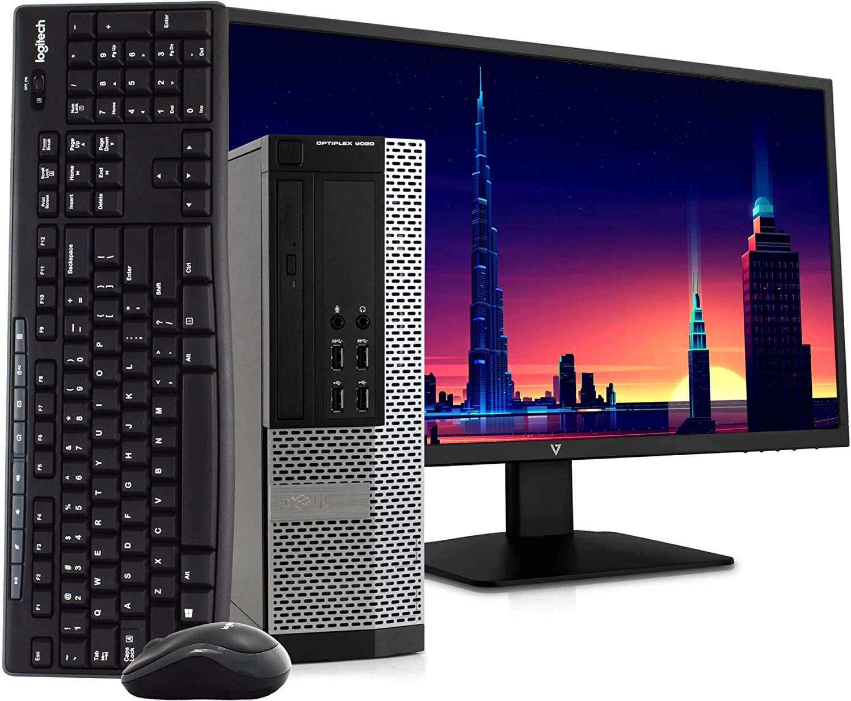 "Dell OptiPlex 9020 Small Form Space Saving PC Desktop Computer, Intel i5, 8GB, 500GB HDD, Windows 10 Pro, New 23.6"" FHD V7 LED Monitor, Wireless Keyboard & Mouse, New 16GB Flash Drive, WiFi (Renewed)"