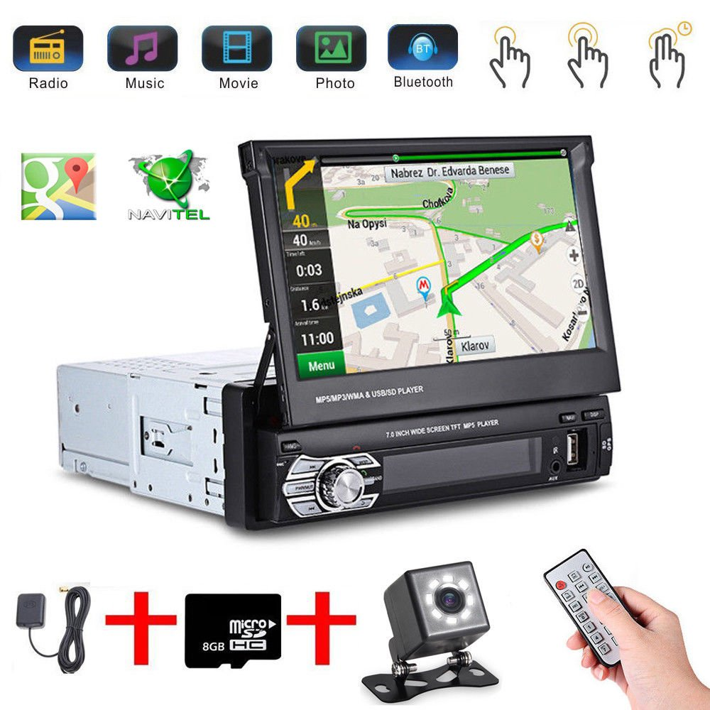 Podofo 7'Touchscreen 1DIN Auto MP5 Bluetooth Player Radio Stereo Head Unit GPS Sat NAV BT EU Karte + 8 IR CCD Mini Kamera fü r Auto