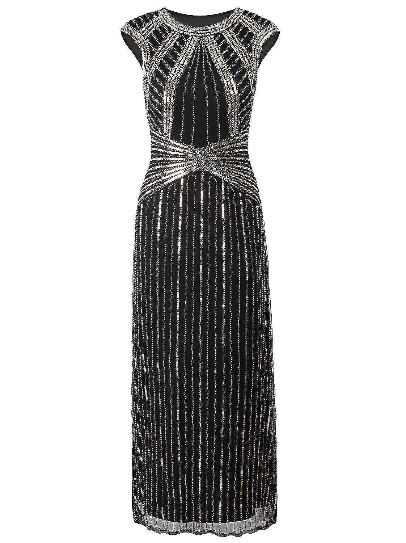 c08f7c54cb2 Vijiv 1920s Long Prom Dresses Cap Sleeve Beaded Sequin Maxi Evening Party  Dress