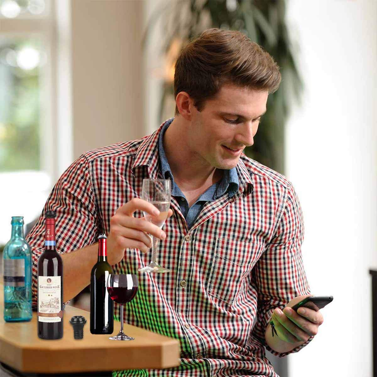 multicolor Tap/ón para botella 6 tapas de vino de silicona reutilizables para cerveza y champ/án con alcohol brillante
