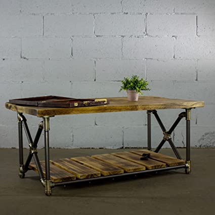 Furniture Pipeline Houston Industrial Chic Rectangle Coffee Cocktail Table  Metal Pipe Frame With Reclaimed Aged Finish