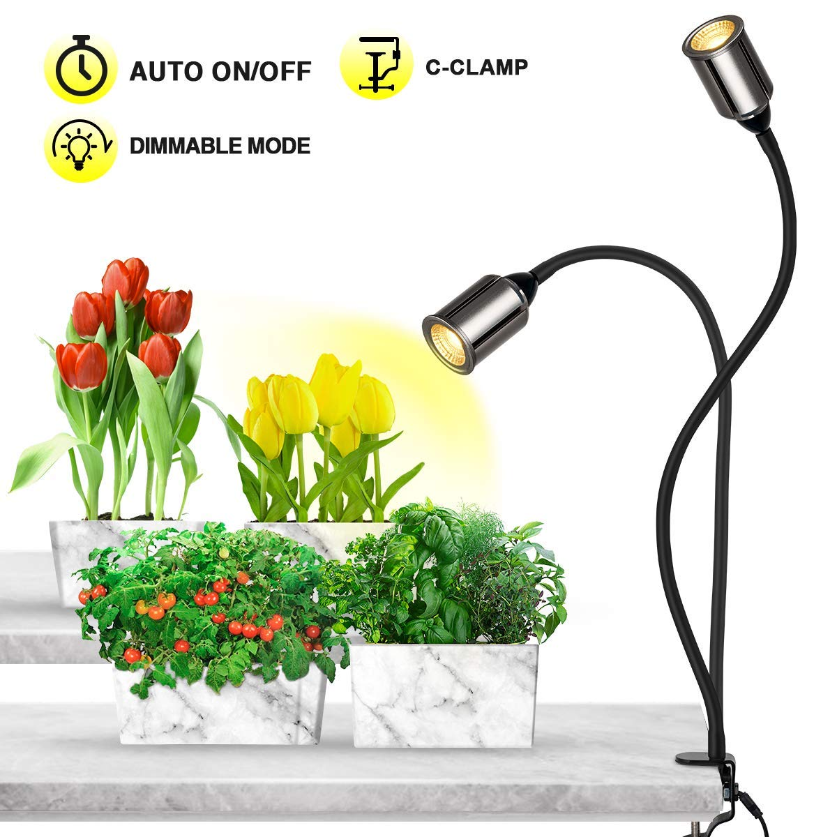 Bozily Grow Lights for Indoor Plants Full Spectrum with Timer-75W COB CREE Sunlike Plant Light with 3/6/12/24H Timer 5 Dimming LED Sunlight Growing Lamp for Plants Seedling Blooming Fruiting [Upgrade] by Bozily