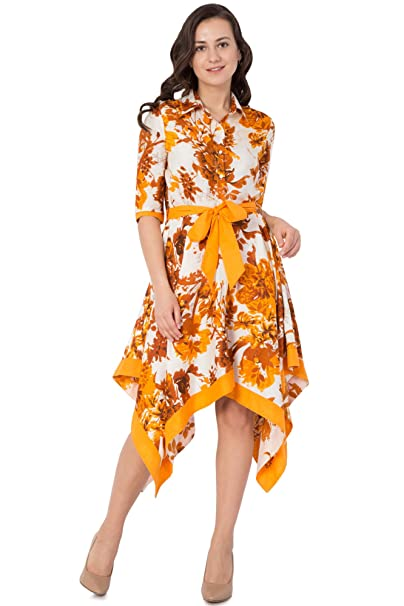 28c72ec7f8c Hive91 Floral Wrap Western Dress for Women in Mustard Color and Half Sleeve