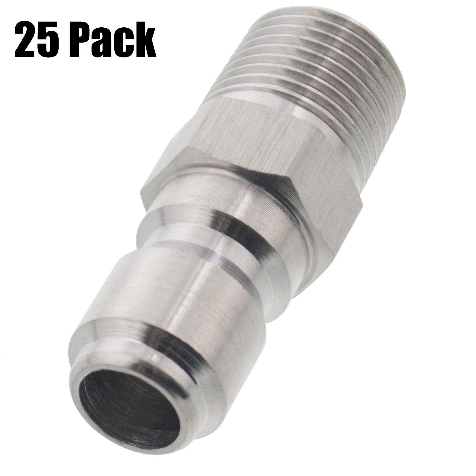 Erie Tools 25 Pressure Washer 3/8 Male NPT to Quick Connect Plug Stainless Steel Coupler, High Temp, 5000 PSI, 10.5 GPM