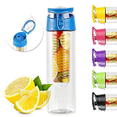 800ml Bouteille à Infuser Gourde Sport Infusion Jus Fruit - Rose-7x25cm