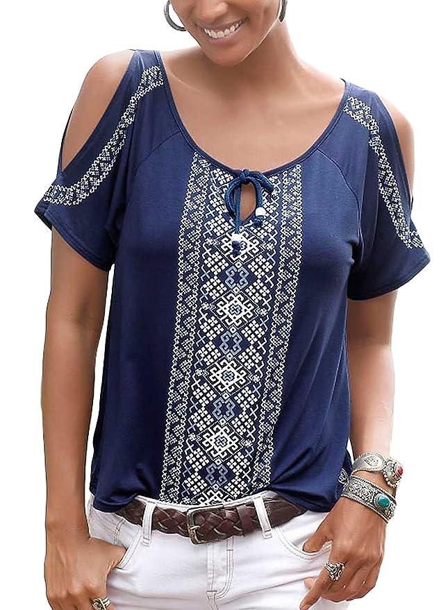 Chase Secret Womens Floral Print Cut Out Shoulder Short Sleeve T Shirt Tops Blouse XX-Large Pink