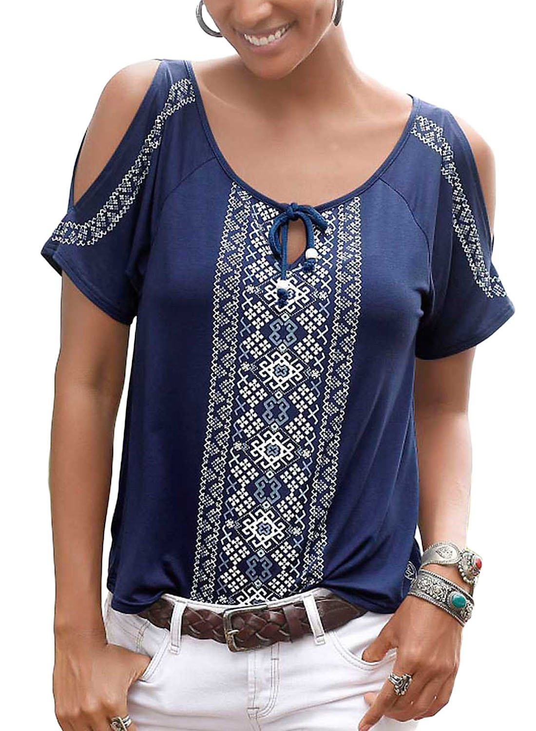 Chase Secret Womens Summer Ethnic Style Printed Tunic Top Bohemian Tie Front Loose Blouse Medium Navy