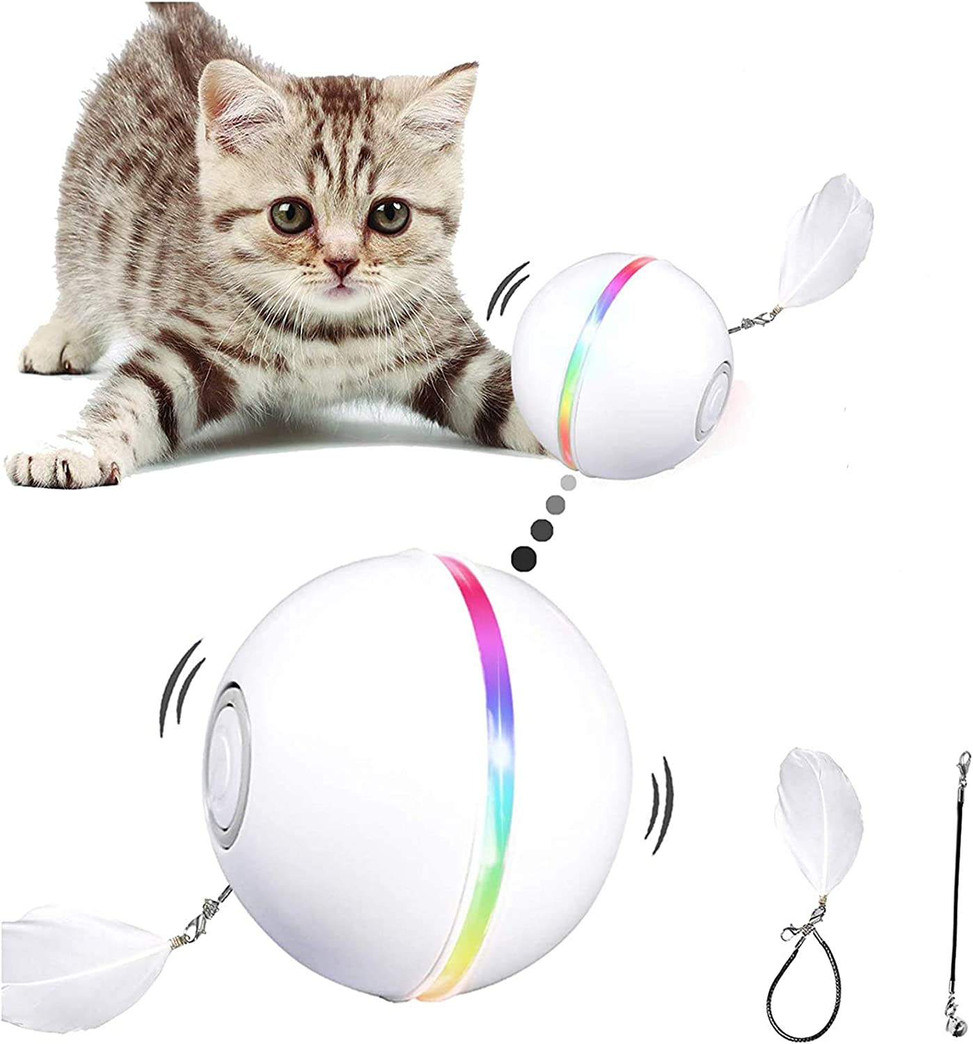 YOFUN Interactive Cat Toys, Automatic Cat Toy Ball, USB Charging Pet Toy, Built-in Spinning LED Light, Newest Version with 2 Lightening Modes & Attached Feather with Bell, Insert Catnip : Pet Supplies